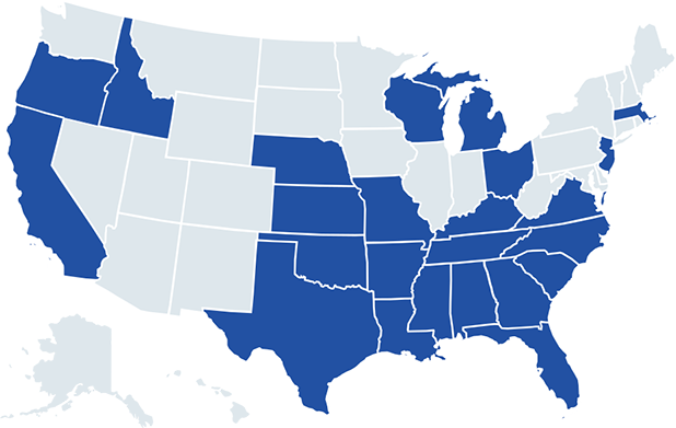 Map of Southeast United States